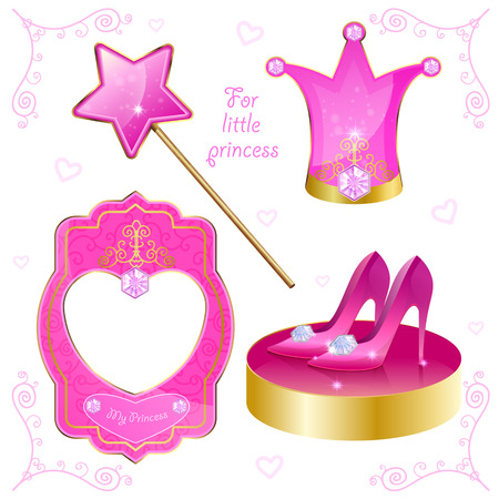 fairy princess: Set of magical objects for your little princess. Isolated on white background