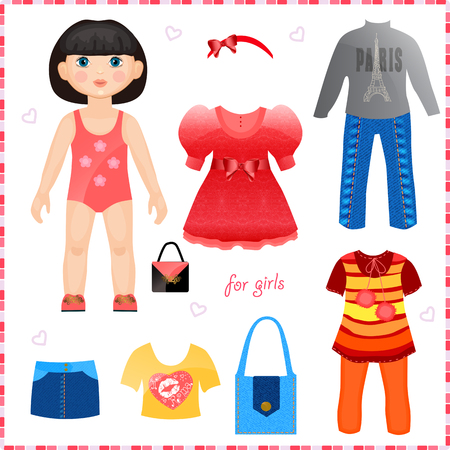 Paper doll with a set of clothes  Cute fashion girl  Template for cutting  Vector