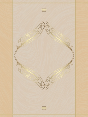 Beige card with gold ornament, the idea for the menu, wedding cards, invitations Vector