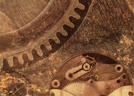clockwork: Large rusty metal clockwork Stock Photo