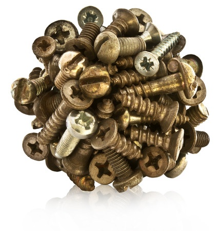 fasteners: Ball of metal bolts, screws. The original industrial design. Stock Photo
