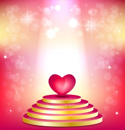 Pink podium floodlit and heart on shimmering background. Concept of Valentines Day