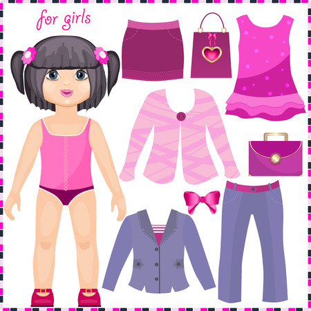 エレガントな服のセットを持つ紙の人形。かわいいファッションの女の子。切削用のテンプレート。  イラスト・ベクター素材