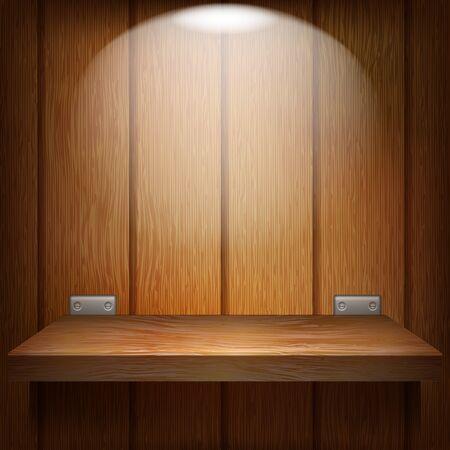 �tag�re bois: �tag�re en bois avec accessoires en m�tal accroch� sur un mur en bois. �tag�re �clair�e par le dessus