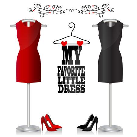 Zwarte en rode jurk en schoenen. Kleden op een hanger. Mijn favoriete jurkje Stock Illustratie