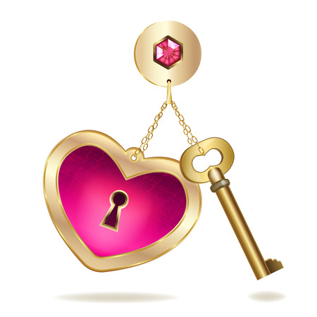 Llavero de oro con el corazón y la joya Foto de archivo - 24903763