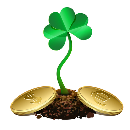 Clover sprout growing out of soil and gold coins  Isolated on white Vector