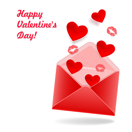 Red envelope with hearts and kisses Vector