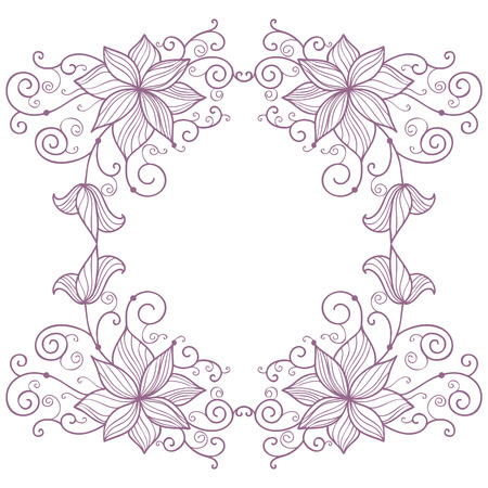Lace floral frame isolated on white