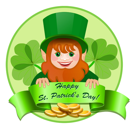 Cheerful leprechaun with money Vector