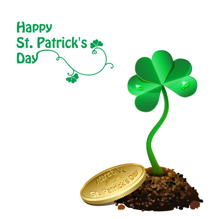 march 17: Gold coin on pile of soil and leaf clovers  Isolated on white Illustration