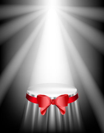 Podium covered with a cloth and red bow