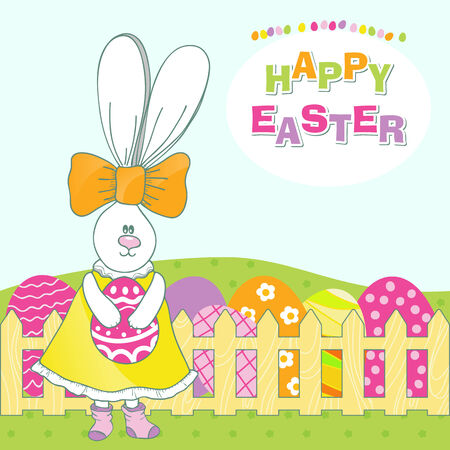 Cute rabbit with easter egg. Happy Easter Vector