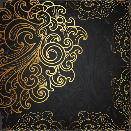 Black card with gold ornament Vector
