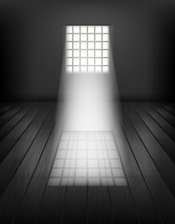 Window with bars. Prison interior Vector