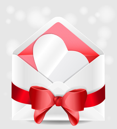 Envelope with red bow and paper heart. Valentine