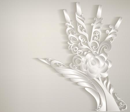 様式化された椰子。手には白い紙刻まれています。