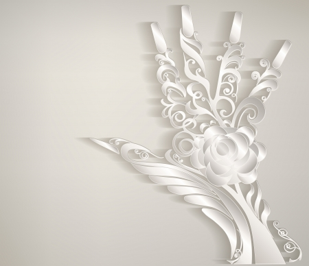 finger nails: Stylized palm. Hand carved white patterned paper.