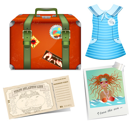 Set to travel. Female road suitcase Vector