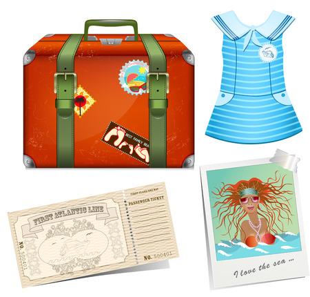 Set to travel. Female road suitcase