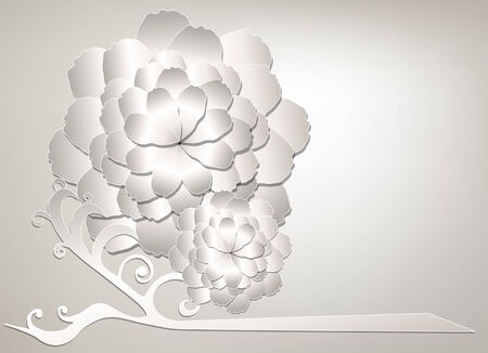 branch cut: Branch with white flowers. Flowers cut from paper Illustration