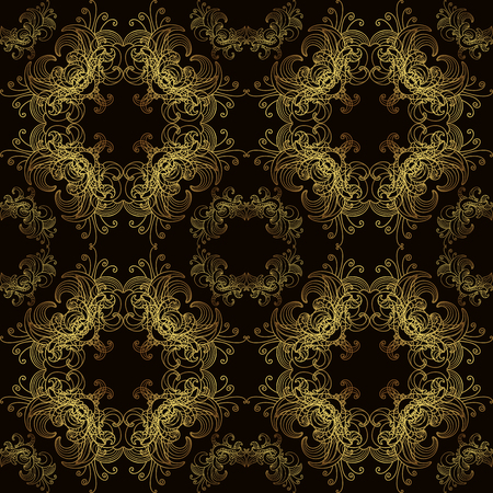 Royal floral pattern seamless black and gold Vector
