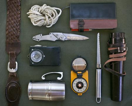Oude items voor reizen. Set van vintage reisaccessoires