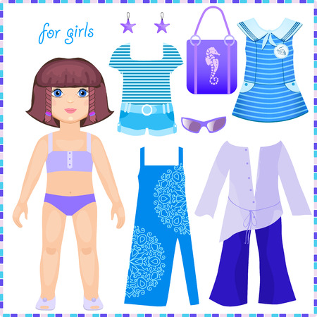 skirt suit: Paper doll with a set of clothes to stay. Marine theme Illustration