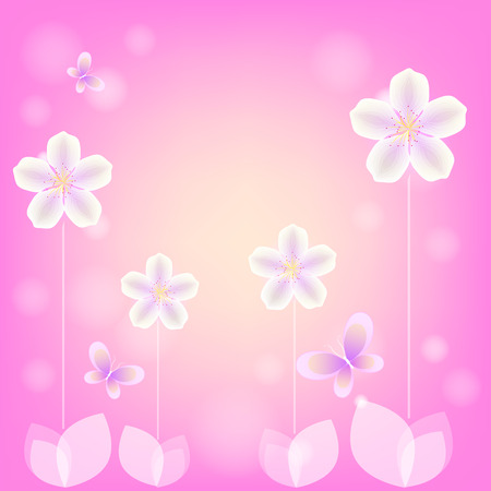 pretty s shiny: White flowers and butterflies on a pink background Illustration