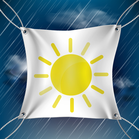 White banner with drawn sun on rainy sky background Ilustração