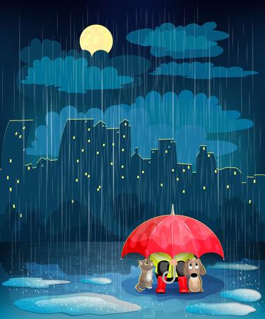 夜の街での傘の下の子。雨の夜市と風景し、月