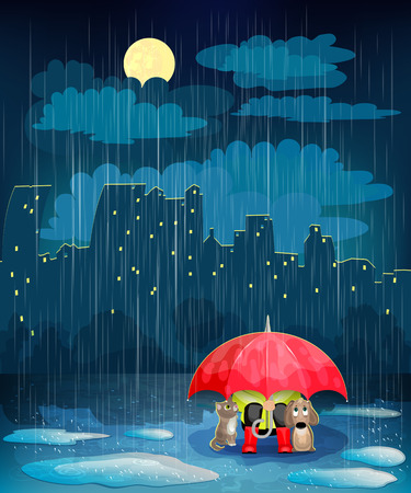 bad weather: Child under an umbrella in night city. Landscape with night city,  rain and  moon