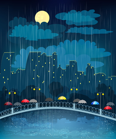 Landscape with night city in rainy weather Illustration