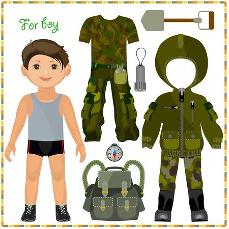 紙の人形服のセットを。衣類やアクセサリーのキャンプ旅行のため。切削用のテンプレート。