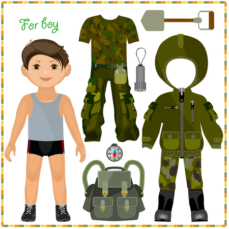 hiking boots: Paper doll with a set of clothes. Clothing and accessories for camping trip. Template for cutting.