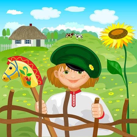 Boy with toy horse on background of rural landscape Vector