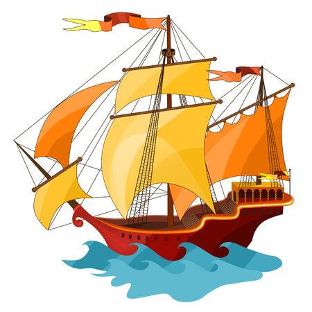 frigate: Two-masted sailing ship. Isolated on white background