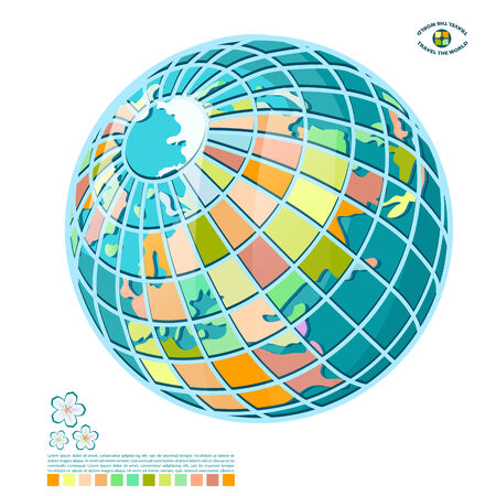 meridians: Abstract globe. Schematic model of the globe, isolated on white background