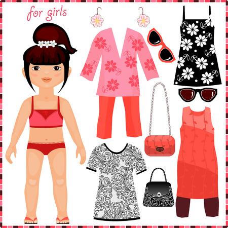 紙人形のファッションの服のセットを。かわいい女の子。切削用のテンプレート。