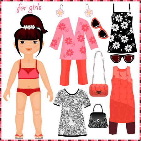 Paper doll with a set of fashion clothes. Cute girl. Template for cutting. Vector