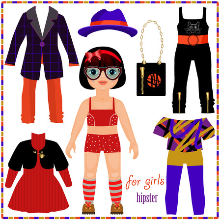 Paper doll with a set of fashion clothes. Cute hipster girl. Template for cutting. Vector