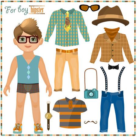 紙の人形服のセットを。かわいい流行に敏感な少年。切削用のテンプレート。  イラスト・ベクター素材