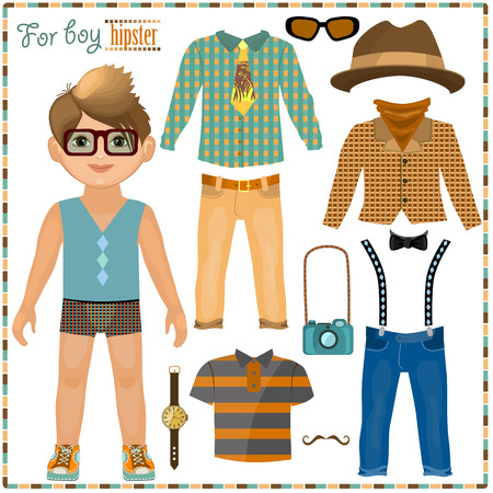 Paper doll with a set of clothes. Cute hipster boy. Template for cutting.