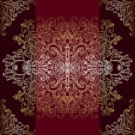 Golden oriental seamless ornament on a brown background Vector