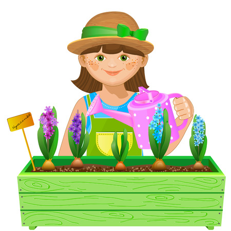 Little girl watering flowers. Pretty gardener watering hyacinths. Isolated on white background. Isolated on white background Vector