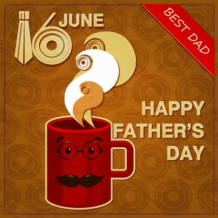 Original greeting card for Fathers Day. Red mug with a mustache Vector
