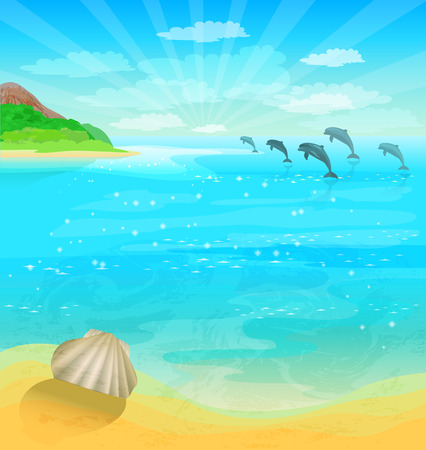 Seascape with dolphins and sea shell Vector