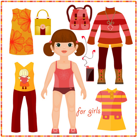 Paper doll with a set of fashion clothes. Cute girl. Template for cutting. Çizim