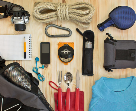 expeditions: travel kit modern traveler scout Stock Photo