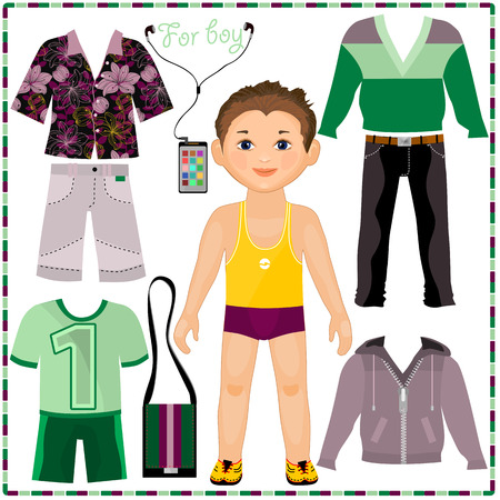 ファッショナブルな衣料品のセットを持つ紙の人形。かわいいおしゃれな少年。切削用のテンプレート。